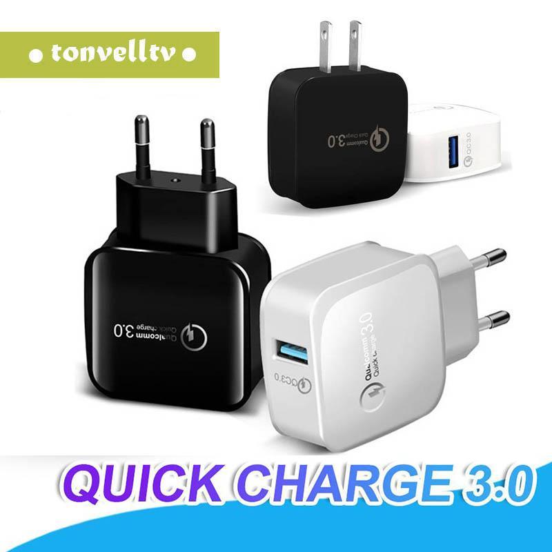 QC 3.0 Быстрое зарядное устройство USB адаптер Quick Charge 5V 3A 9V 2A силы перемещения быстрой зарядки США ЕС Разъем для iPhone 11 X Samsung Huawei Phone