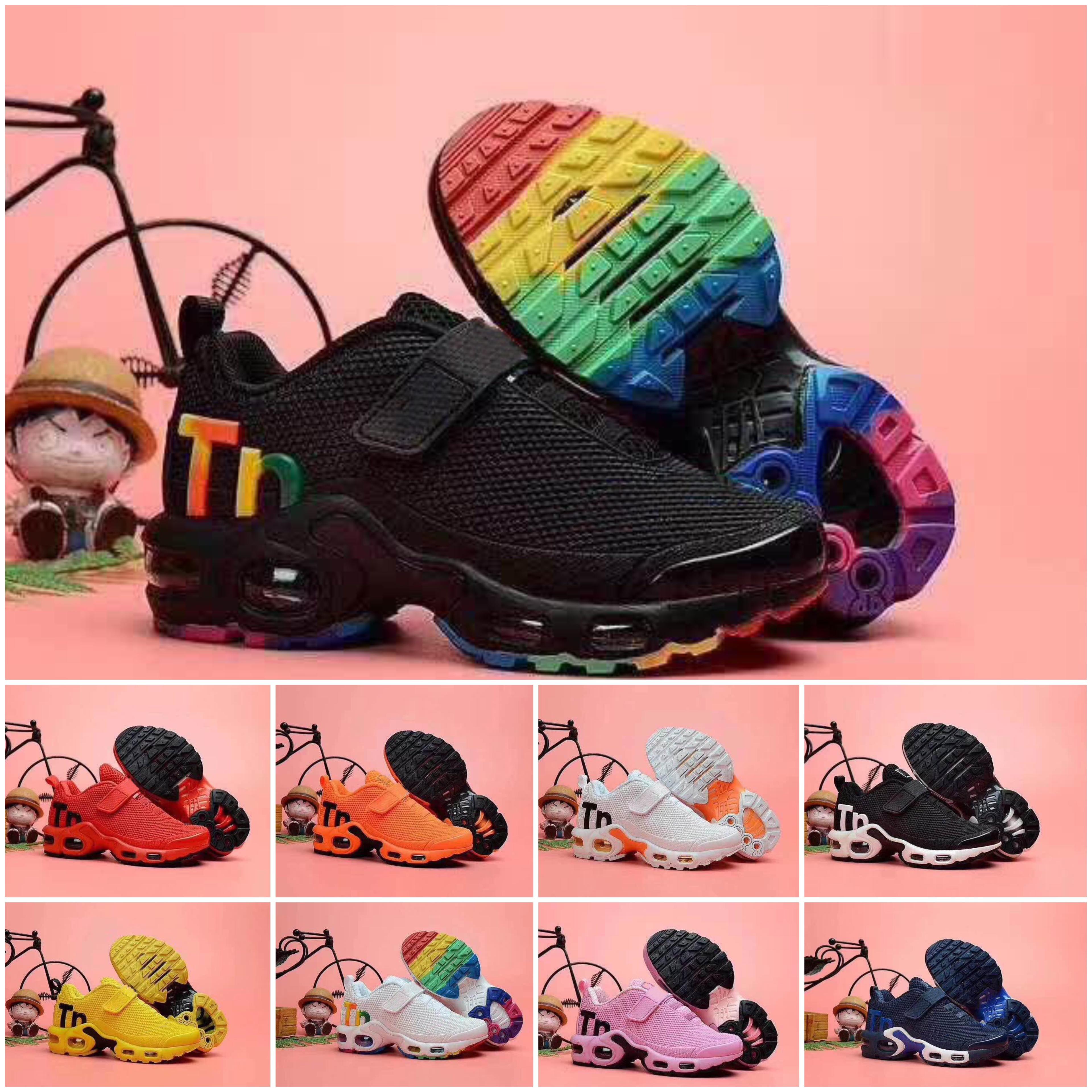 Nike Air TN Plus Nuovi bambini più tn ragazza del ragazzo dei bambini del genitore-bambino scarpe da ginnastica per la moda bambino sneaker nero più bianco che funziona da