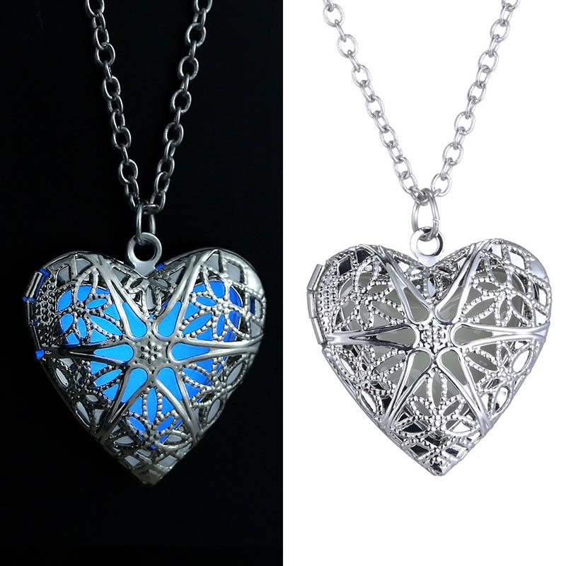 Glow In The Dark Collar Azul Fluorescencia Light Silver Love Heart Locket Colgantes Joyería Moda Mujer Shiping gota
