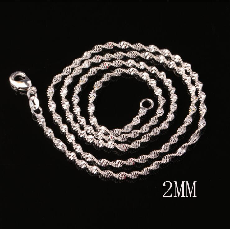 925 sterling silver plated 2MM double water wave chain necklace size 16-24 inch SC16 925 silver plated Lobster Clasps Smooth Chain jewelry