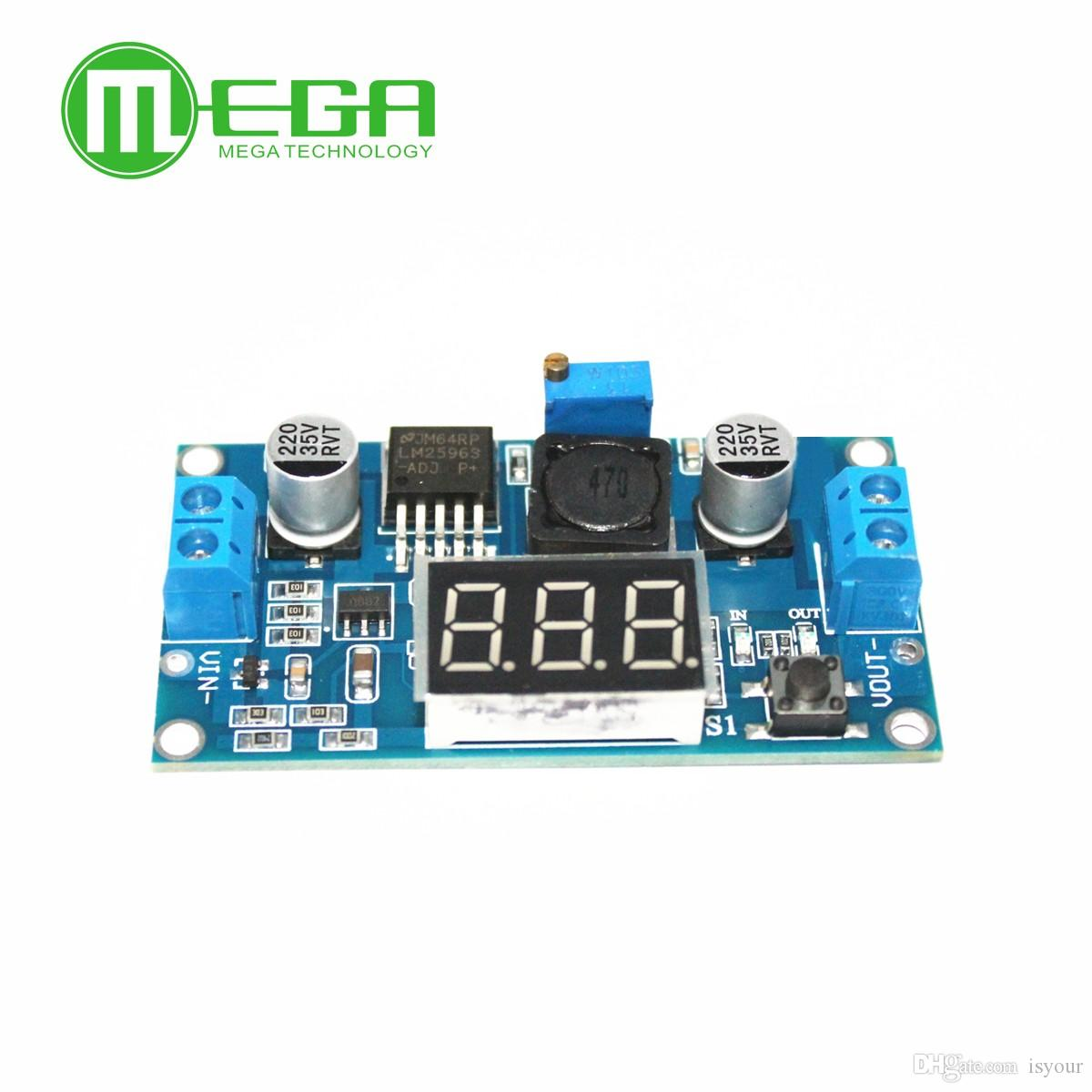Freeshipping 10Pcs/Lot LM2596 DC 4.0~40 to 1.3-37V Adjustable Step-Down Power Module + LED Voltmeter TK0343