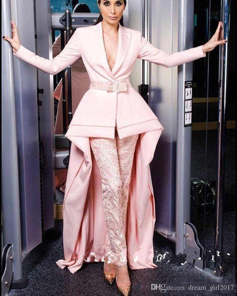 2019 New blush Pink Long Sleeve Jumpsuits with train Evening Dresses Deep V Neck With Sash Elegant Satin Guest Dress Prom Gowns