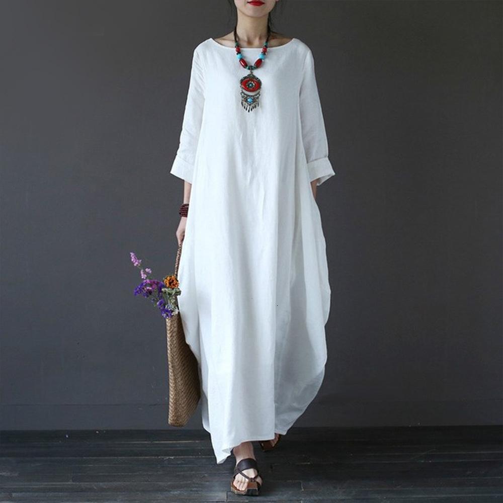 Mujer vestidos de ropa de la mujer del tamaño del verano del vestido maxi vestidos holgados 3 4 algodón largo ocasional del ante de Bohemia del vestido largo 4XL 5Xl