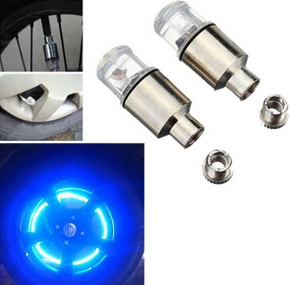 bicicleta de montaña luciérnaga habló LED rueda tapa del vástago de válvula de movimiento neumático luz de neón de la bici del envío libre