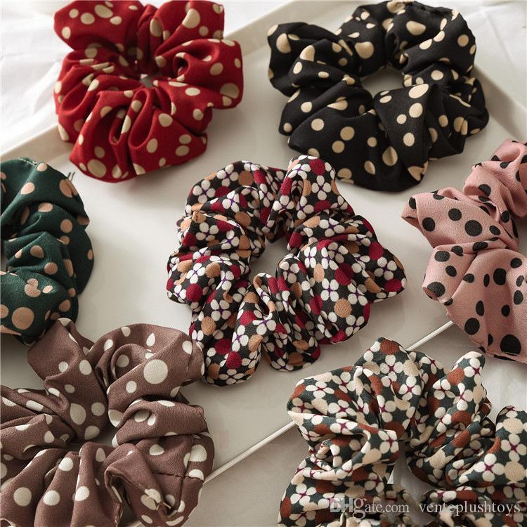 7 Renk Kadın Kızlar Renkli Noktalar Elastik Halka Saç Kravatlar Aksesuarları At Kuyruğu Tutucu Hairbands Lastik Bant Scrunchies