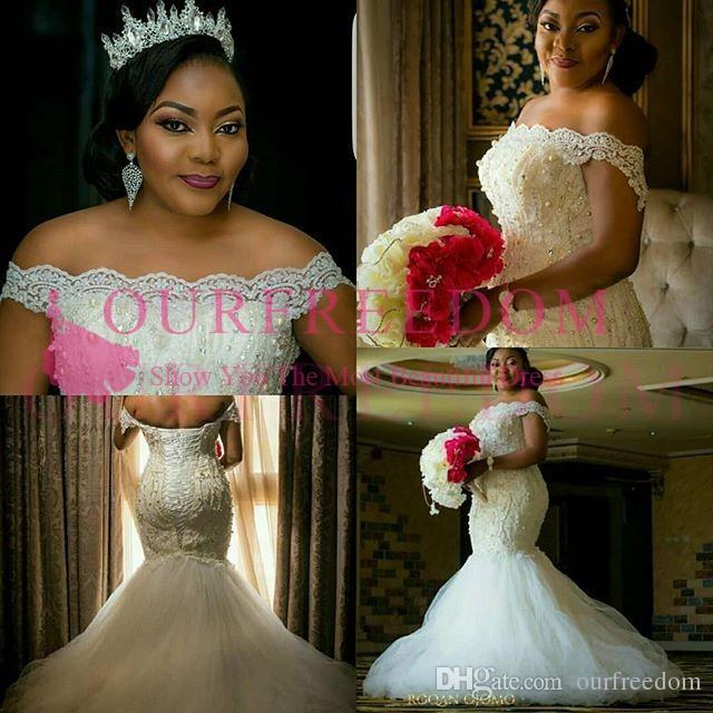 2019 플러스 크기 Nigern 스타일 인어 웨딩 드레스 숄더 레이스 진주 긴 레이스 최대 다시 남아프리카 스타일의 신부 드레스