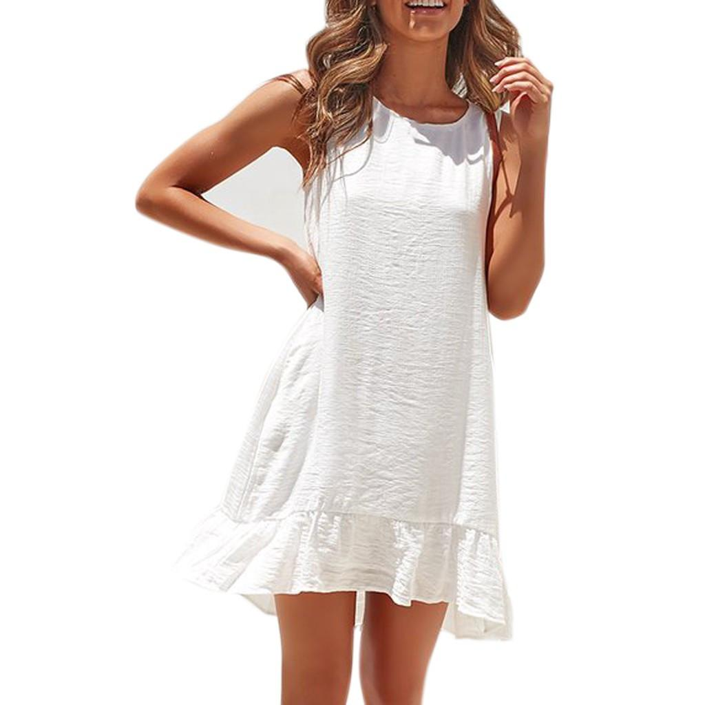 Women Ruffle Hem Elegant Dress Round Neck 2019 Summer Dresses Ladies Solid Keyhole Back Sleeveless Casual Dress #EP