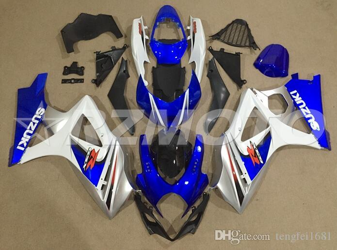 OEM Quality New ABS Full Fairing Kits fit for SUZUKI GSXR1000 K7 2007 2008 07 08 Bodywork set Custom blue White