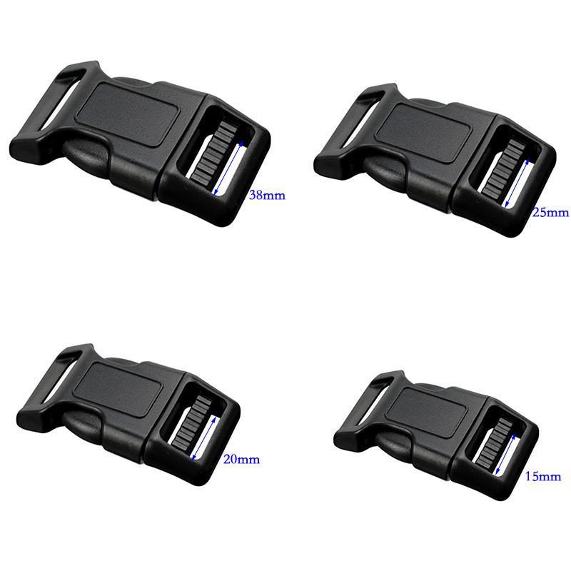 50pcs 20mm 25mm Plastic Clasps Contoured Side Release Buckles For Paracord Bracelet Backpacks shoes Bags Cat Dog Collar Decor