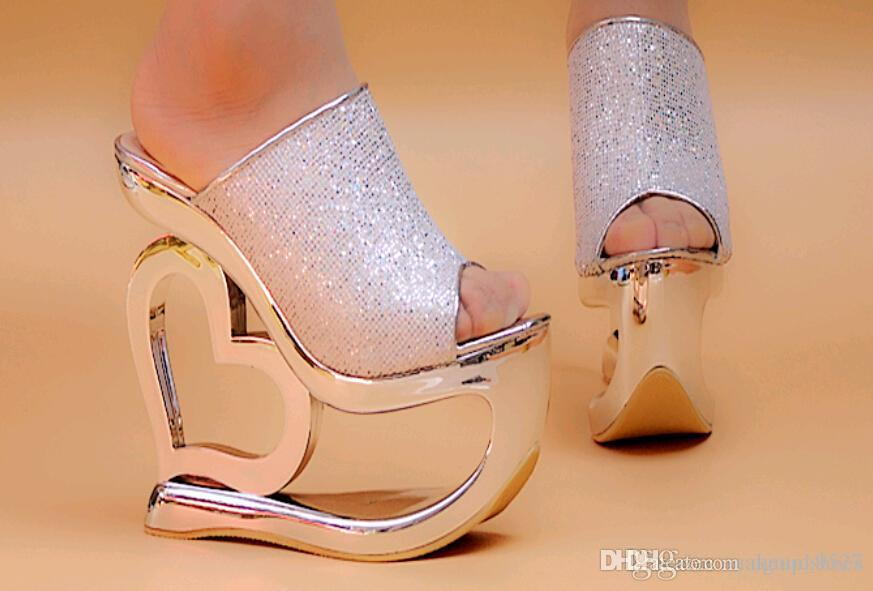 ef94f8cb2f Love Sequins Shoes Wedge Slippers Women'S Wedges Sandals Party Evening  Shoes 15cm Sandals Waterproof Shoe Silver Shoes Mens Sandals From  Agoodshoes, ...