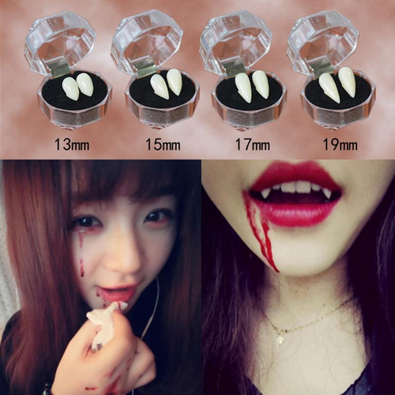4 Size Vampire Teeth White Resin Grillz Zombies Teeth Halloween Costume Props Party Favors Horror for Children DIY Decoration Jewelry Gifts