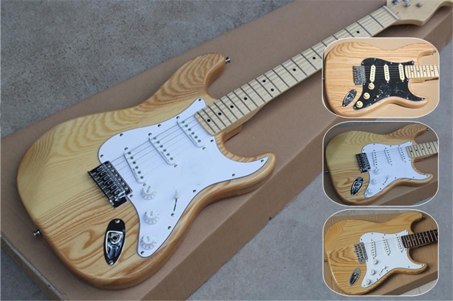 akçaağaç perdeliği gül ağacı ücretsiz gönderim ST ASH ahşap gitar, 22 perde, SSS sarı beyaz manyetikler, kül vücut, beyaz, siyah pickboard