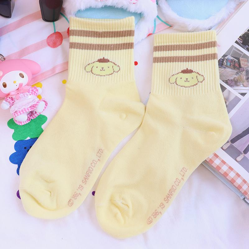 1 cat Par My Melody Cão Cinnamoroll Pudim Médio Longo New meias de algodão para meninas presente bonito Meias dos desenhos animados Plush Toys Meninas