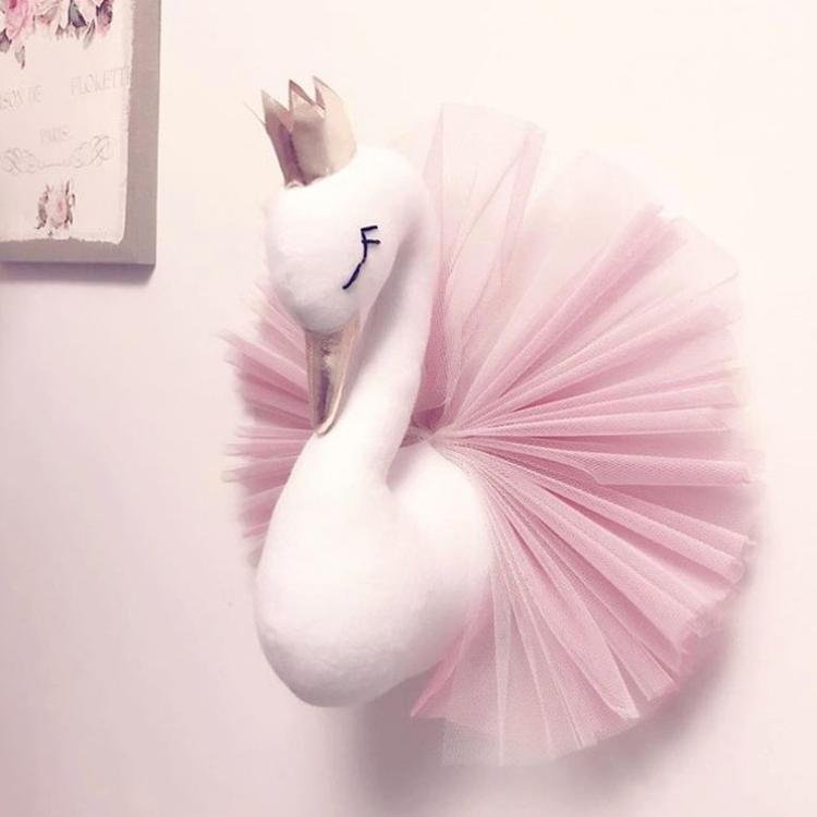 Cute 3D Golden Crown Swan Wall Art Hanging Girl Swan Doll Stuffed Toy Animal Head Wall Decor for Kids Room Birthday Wedding