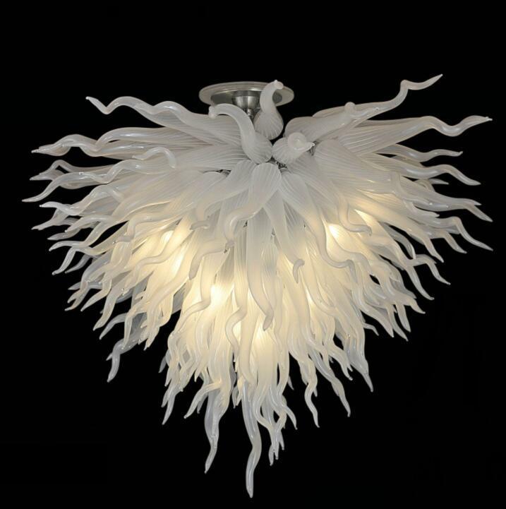Moderne Atistic blanc pur verre soufflé Lustre Lampe LED CE / UL certificat de style en verre Lampes