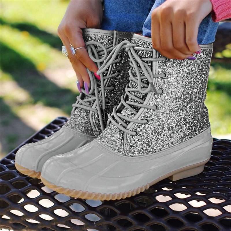 Botas de mujer Dama Bota de pato con cremallera impermeable Suela de goma Mujeres Botas de lluvia Lace Up Zapatos de tobillo Piel de invierno Zapatos