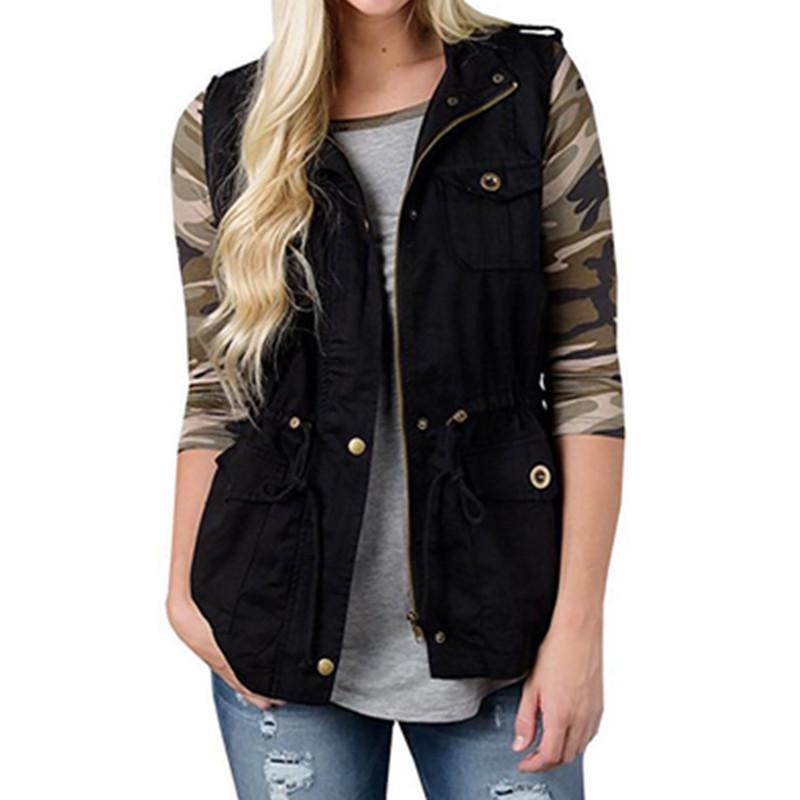 Das mulheres de inverno com zíper sem mangas colete colete senhora moda acolchoado gilet casaco jaqueta tops