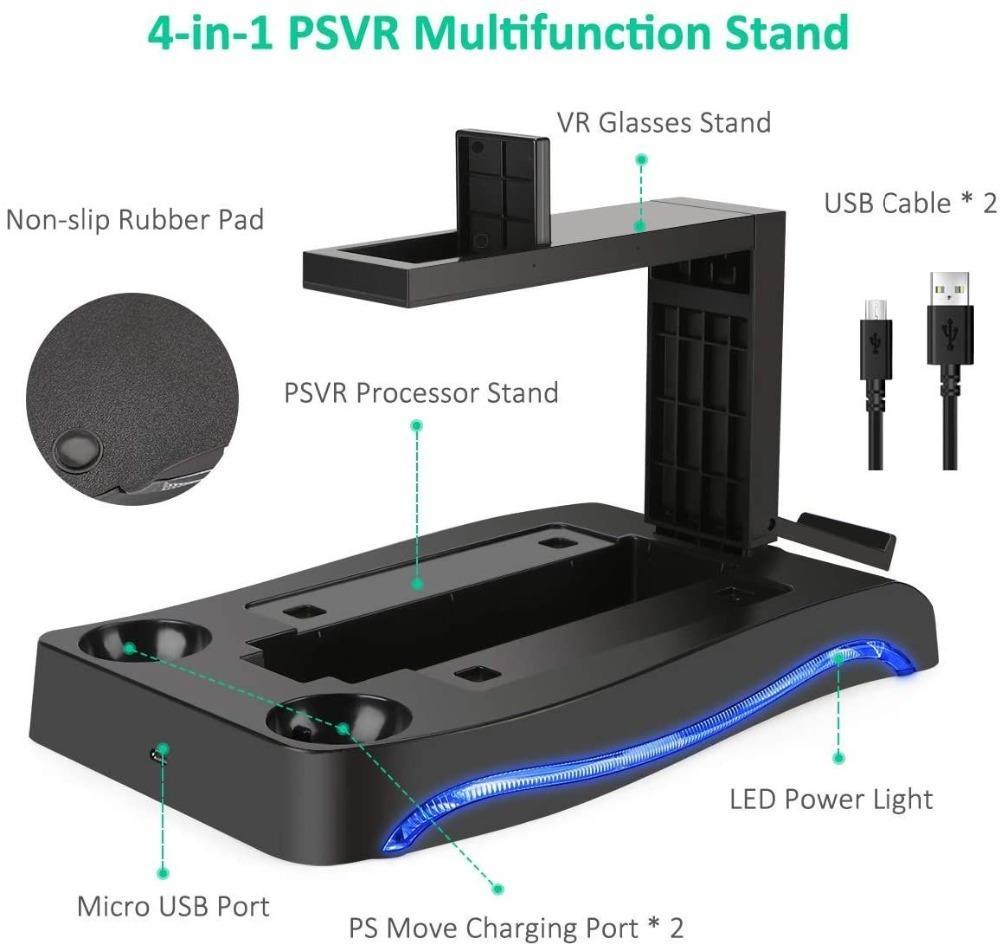 PS için İstasyonu ve İşlemci Birimi Yerleştirme İstasyonu Ekran Standı Şarj Vitrin Depolama PSVR II PS4 VR Tutucu Stand Taşı