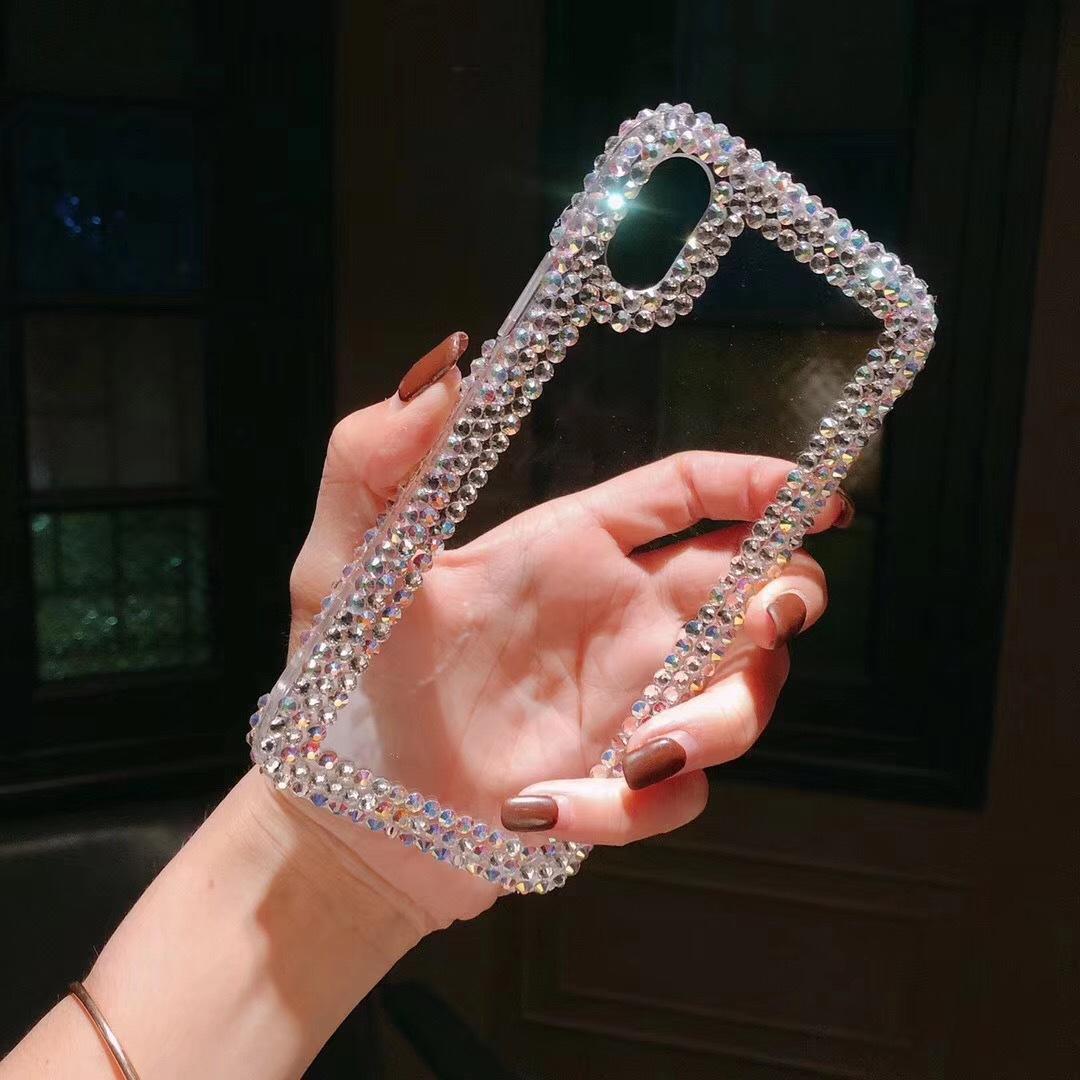 Прозрачный акриловый чехол для мобильного телефона со стразами для iPhoneXs Max 8 8Plus 7Plus 6G 6S Plus Samsung S10plus Мягкий чехол ТПУ