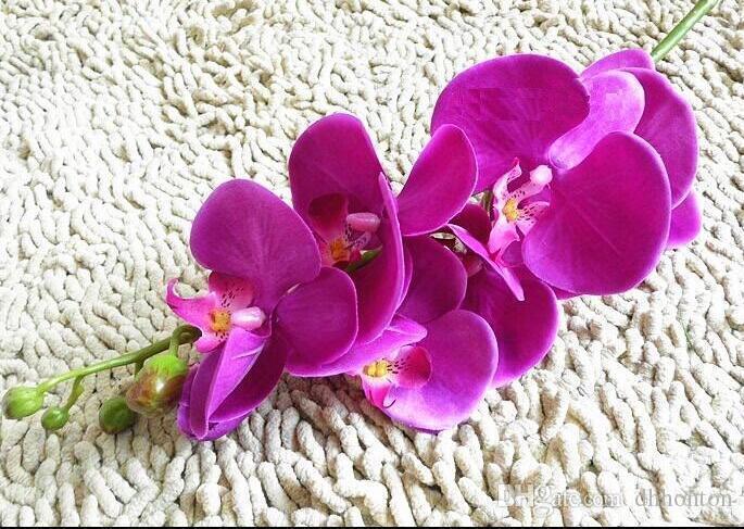 زهور الحرير الإصطناعية زهرة أوركيد الفراشة الصغيرة 78 سم البوق الإصطناعي Phalaenopsis لزينة حفلة الزفاف الزهور HM016