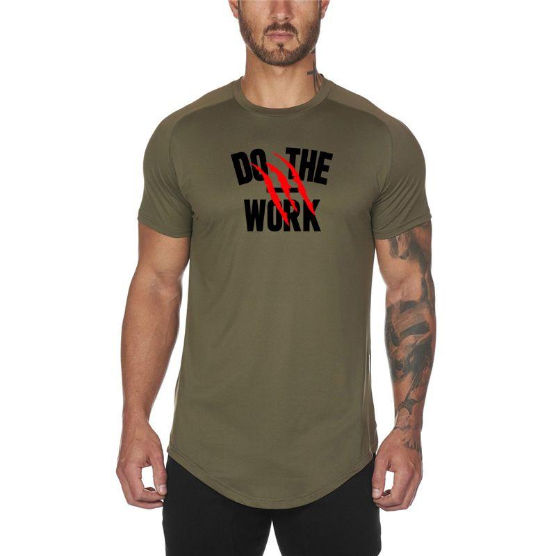 Neue Mode Mesh Fitnessstudio Bodybuilding Sporting T-Shirts Männer Kurzarm Fitness Männer Feste Highqualität Laufen T Shirts