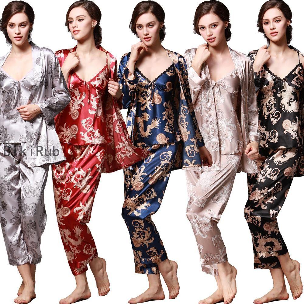 2020 Femmes Soie Pyjama Femme 3 pièces satin Pyjama Sets Automne Printemps Été manches longues nuit Homewear Imprimé Notte T200111