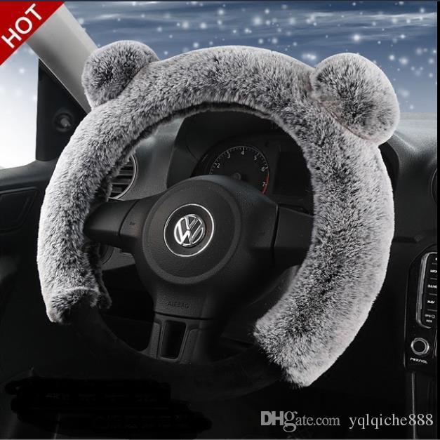 Vehicle wool steering wheel sheath winter Rex rabbit hair sheath female thermal and slip-proof three-piece set