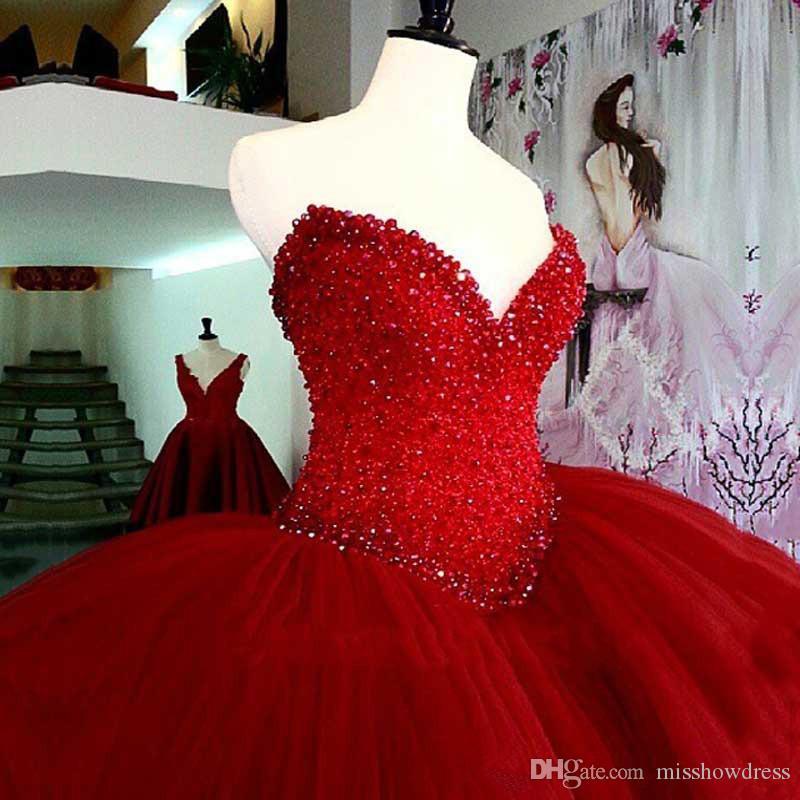 ثوب أحمر الحبيب الديكور الكرة اللباس Quinceanera مع تول الحلو 16 اللباس فستان المبتدأ الرسمية الحفلة الراقصة حزب فساتين السهرة