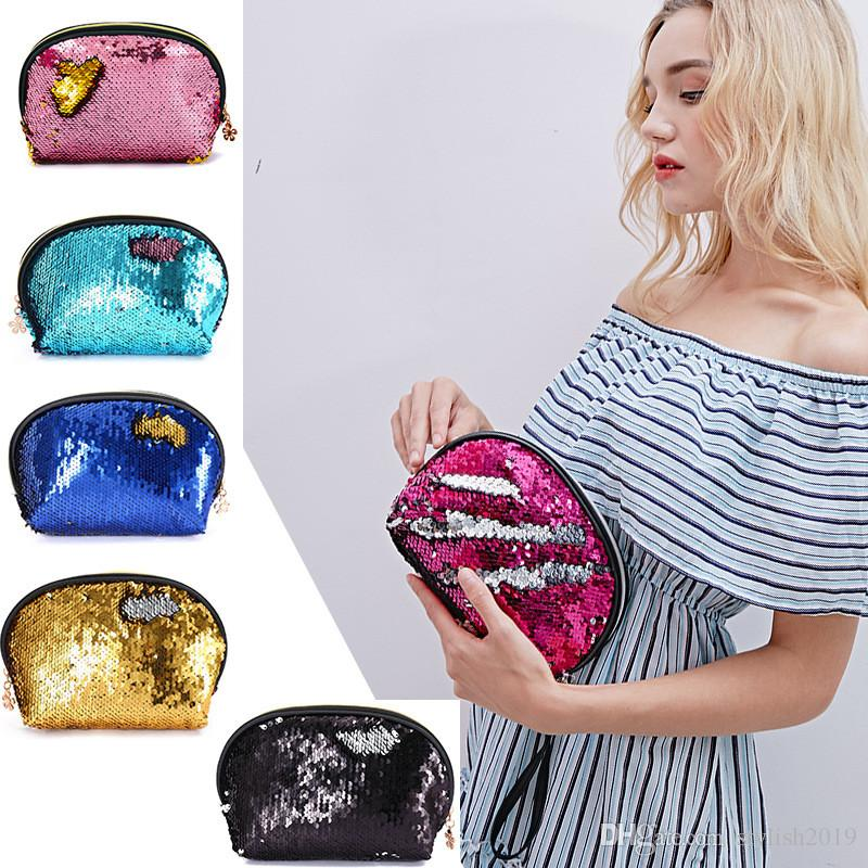 Nouvelle forme de coquille embrayage zipper cosmétique sac mode sirène paillettes sac dames porte-monnaie WCW663