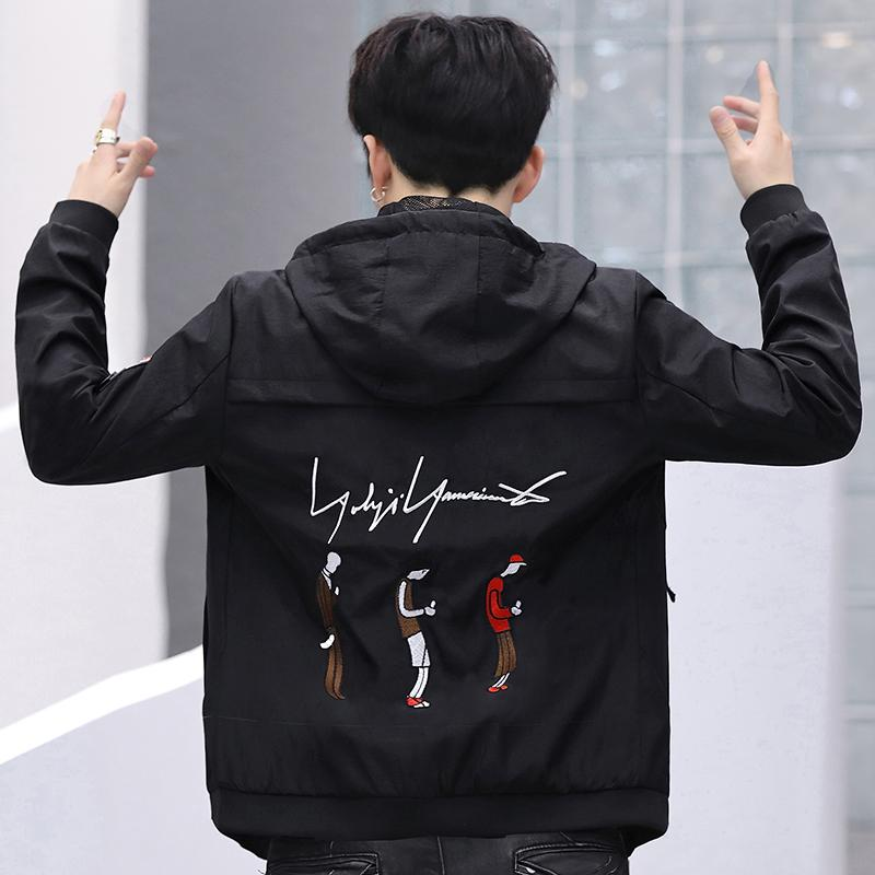 los hombres de moda de la chaqueta 2019 otoño nuevo viento coreano flojo ocasional de hip hop de béisbol venta caliente tops ropa de la marca de los hombres de la chaqueta con capucha de la moda