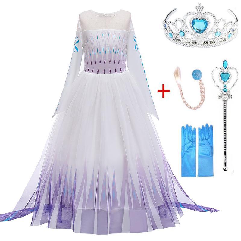 크리스마스의 소녀 드레스 안나 엘사 2 코스프레 키즈 파티 드레스 할로윈 여자 의류 눈의 여왕 안나 공주 드레스 아동 의상 T200624