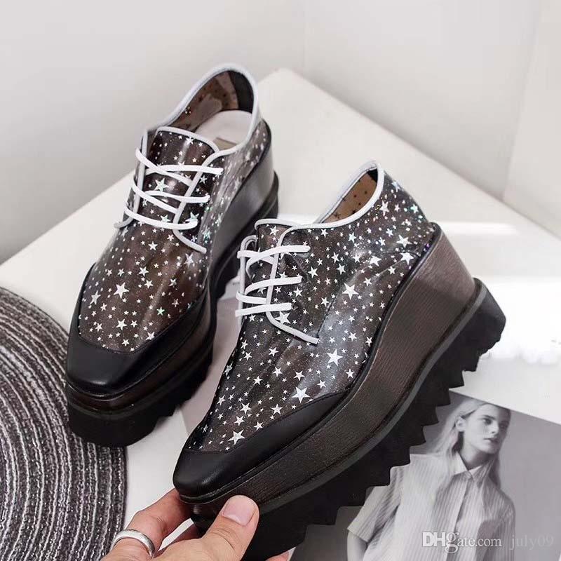 Les nouvelles femmes de mode Plate-forme Chaussures plates Casual Lady Marche Casual sneakers lumineux fluorescent blanc chaussures de sport en cuir trapu S41