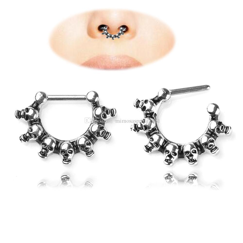 2019 New fashion Black Skull Head Nose Ring Piercing nose ring Hoop For Women faux clicker Body Jewelry