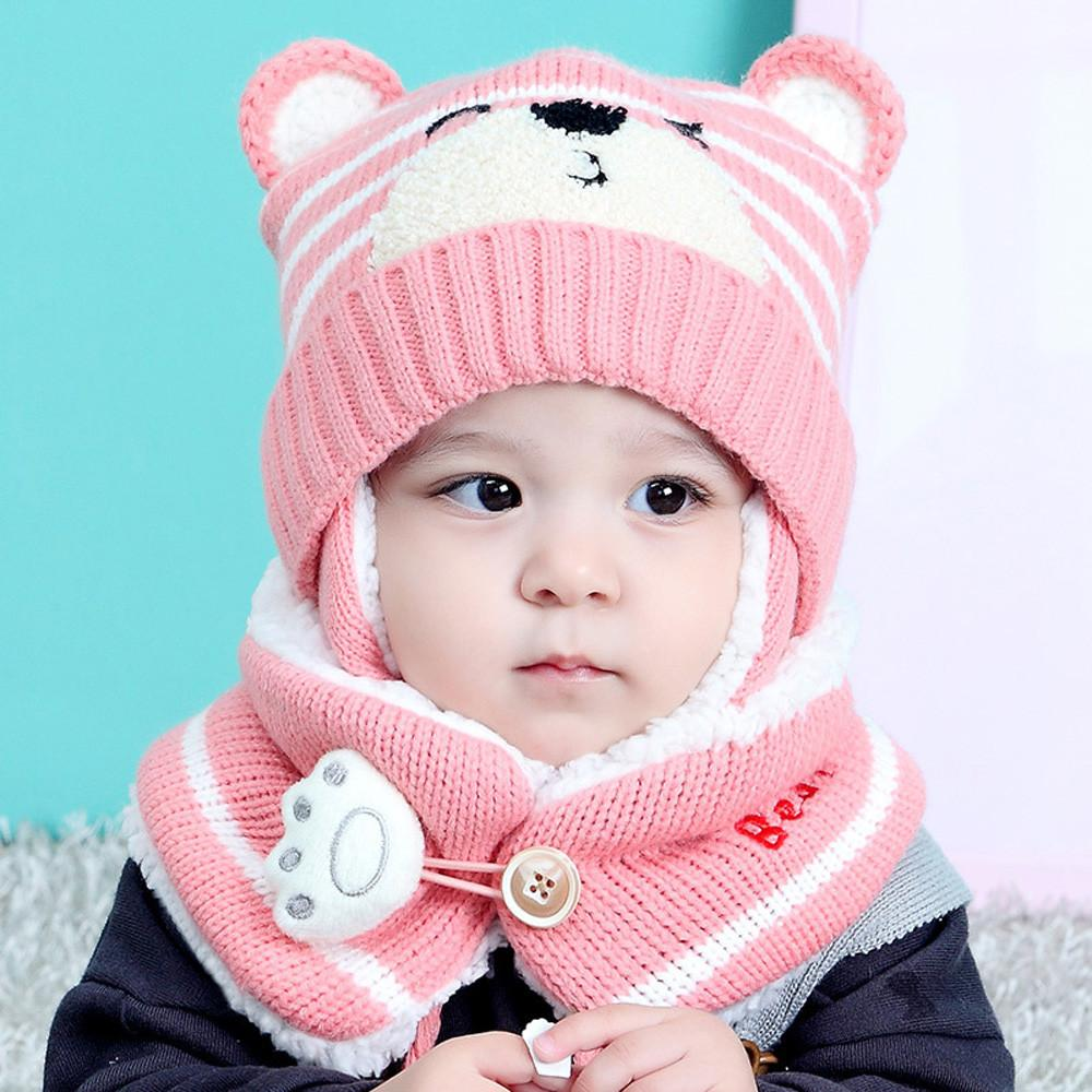 Boys Girls Baby Beanies Hats For Kids 2020 Baby Boy Girl Hair Ball Earbud Hat Child Print Knit Hats +Scaf Set for Girls