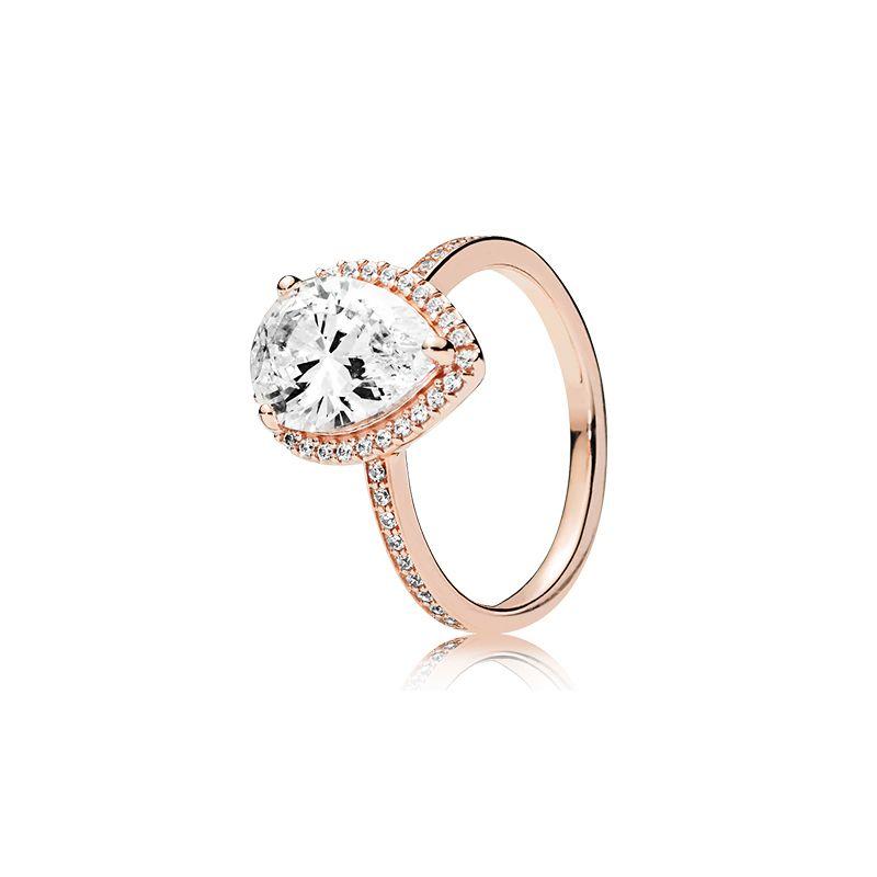 Luxe 18 k Rose or larme goutte de mariage bague originale Boîte pour Pandora 925 en argent Sterling larme femmes designer bijoux bague ensemble