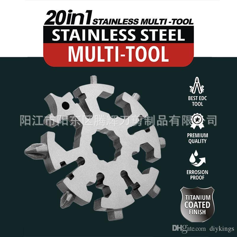 20 em 1 Multi Função Wrench Ferramenta Snowflake chave multifuncional Combinação EDC Parafuso motorista ferramentas portáteis externas