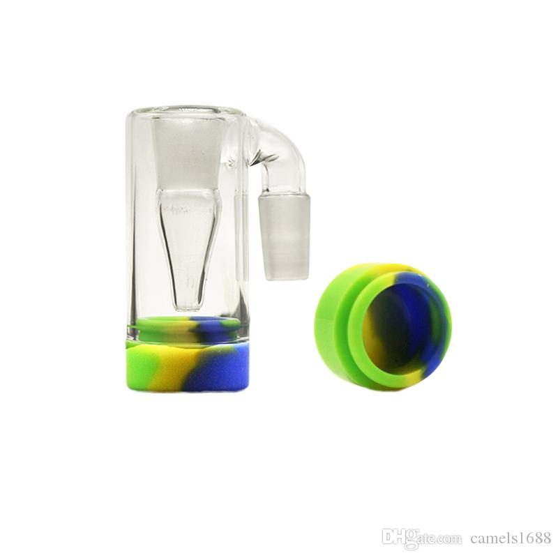 Glass Reclaim Catcher 14mm 18mm Ash Catcaher 45 90 Degree Handmade 5ml Silicone Wax Containers For Dab Rig Glass Bong