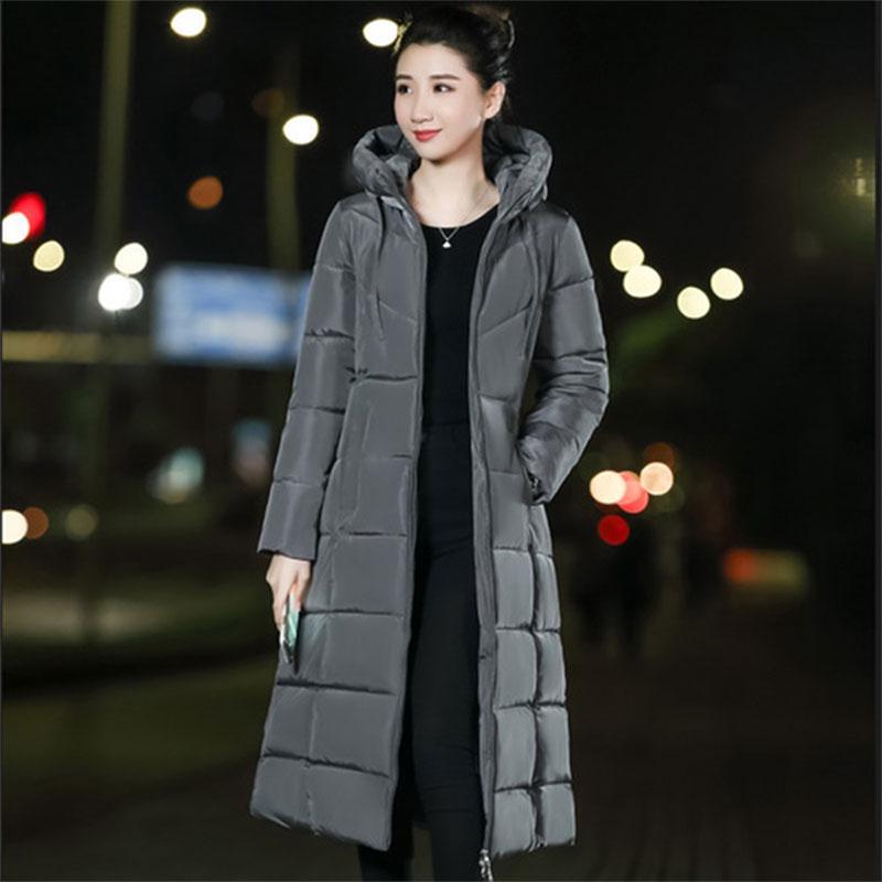 긴 두건 두꺼운 아래로 코트 여성 겨울 캐주얼 지퍼 자켓 여성 보그 우아한 Outwears M-6XL 플러스 크기 합성 깃털