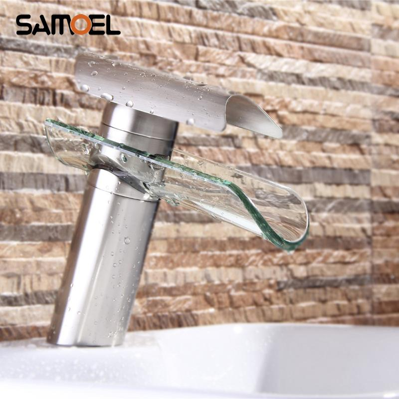 Deck Mount Brass Glass Waterfall Bathroom Sink Faucet Single Hole Brushed Nickel Basin Water Mixer Tap NL712