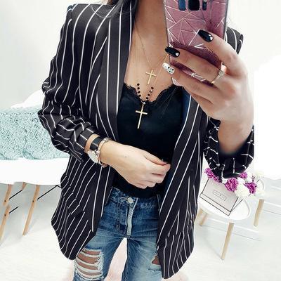 2019 yeni Bahar Slim Fit Kadınlar Örgün Ceketler Ofis Işleri Açık ön Çentikli Bayanlar Blazer Ceket Sıcak Satış Moda Şerit Siyah beyaz