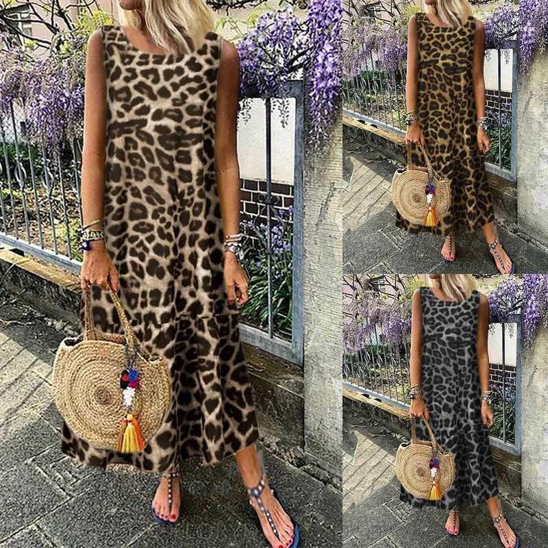 Gefaltetes Kleid Famale Lässige Designer Bekleidung Frauen Sommer Leopard-Sleeveless Kleid-runder Ansatz Art und Weise lost