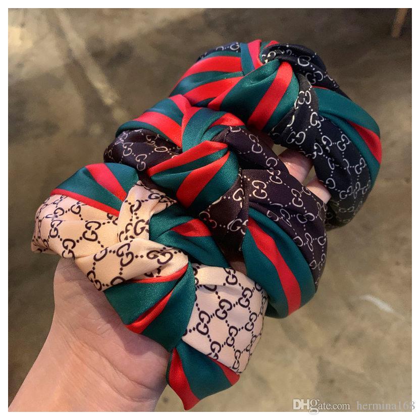 2020 nuova delle donne del tessuto fascia di bowknot hairband largo Croce annodato capo banda ragazze Moda Solid capo del cerchio Lady Accessori Capelli