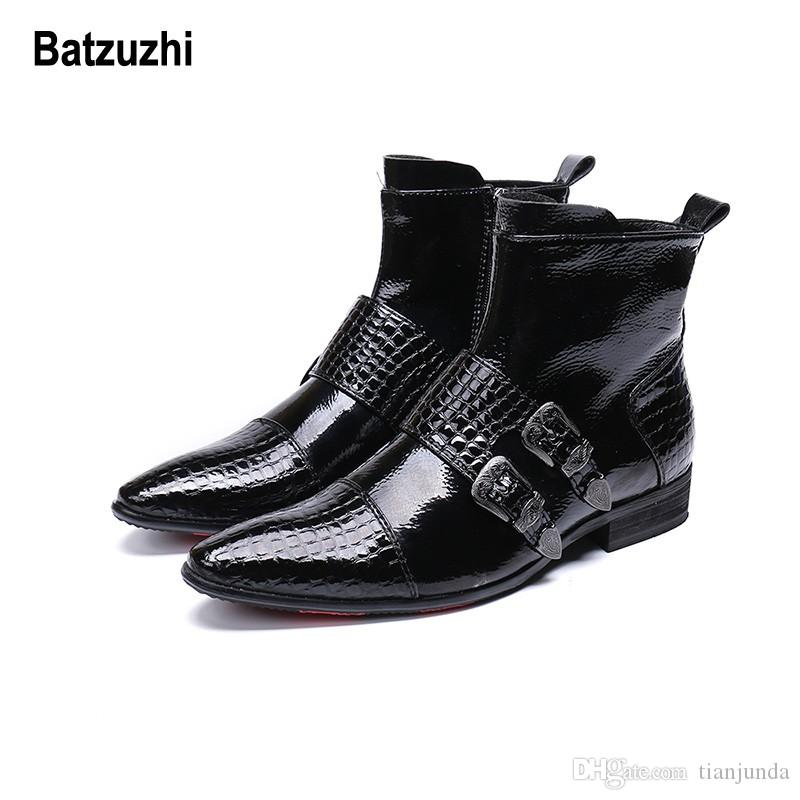 Batzuzhi 2018 nuovi uomini scarpe stivali western cowboy stivaletti uomini fibbia a punta in pelle nera botas hombre runway, stivali partito