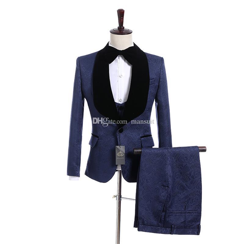 Recién llegado Padrinos de boda Mantón Negro Solapa Novio Esmoquin Azul Patrón Hombres Trajes Boda / Fiesta de graduación El mejor hombre (Chaqueta + Pantalones + Chaleco + Corbata) M962
