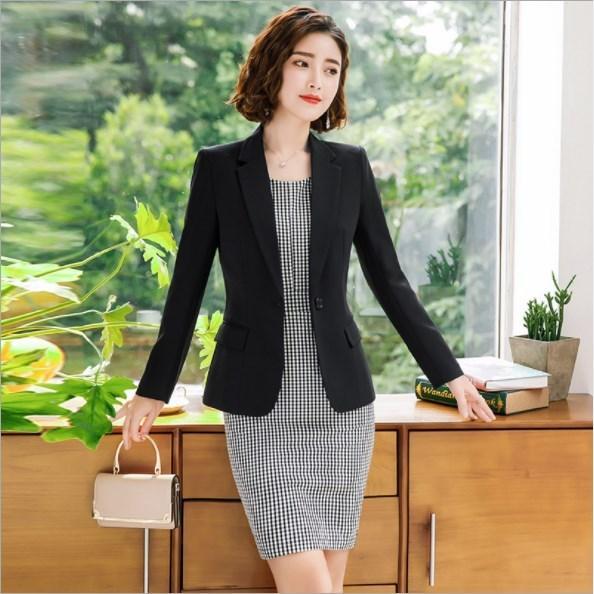 Women Elegant Plaid Dress Suits Spring Autumn Female Blazer+Dress Two Pieces Ladies Office Wear Clothes Womens Jacket Dress Suit