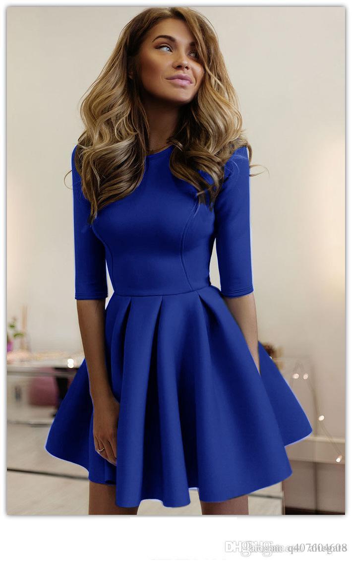 Леди в европейском и американском стиле, сплошной цвет, модные плиссированные платья.
