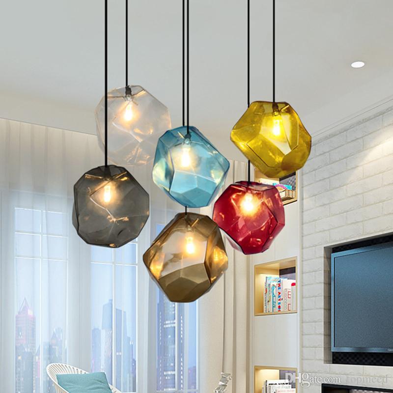 بسيط حجر زجاج قلادة ضوء ملون داخلي G4 LED مصباح مطعم غرفة الطعام بار مقهى متجر الإضاءة AC110-265