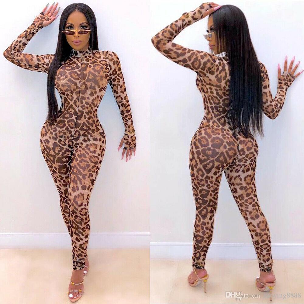 Womens Long Sleeve Leopard Mesh Clubwear Party Playsuit Casual Jumpsuit Romper
