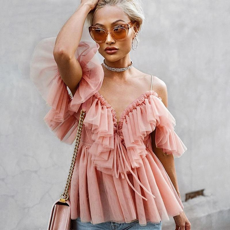 Paris Mädchen Vintage Rüschen Sommer Frauen Bluse Hemd Top Schulterfrei Sexy Peplum Top Weibliche Mesh Backless Feminine Bluse Blusas