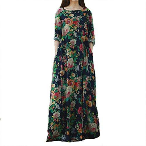 Impressão solta Floral de manga longa de algodão de SIMSHION mulheres Vintage Maxi vestido longo com bolsos laterais